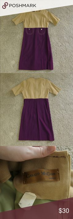 Vintage 60s Mod Wool Dress Vintage Mod 1960s wool color blocked dress.   In very beautiful condition. Has a gorgeous pocket detail.   Fits a size 2. Does not fit a 4 (thus not modeled).   Tags: #vintage #60s #wool #mod #purple #tan #pockets Dresses Mini