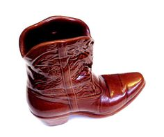 Frankoma Cowboy Boot Ceramic Brown Cowgirl Boot Vase Western Wall Pocket Planter Home Decor  itsyourcountry