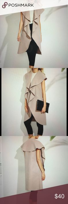 """Waterfall sleeveless Coat Jacket. Size M Elegant pink sleeveless oversized coat. Knee length with a fun waterfall collar. Length is approximately i41 1/8"""" , Bust is 39"""" around.  💯 polyester great for all season.💝 Jackets & Coats Vests"""