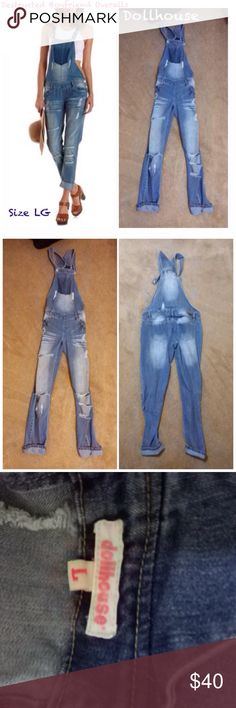 Dollhouse destructed boyfriend Manhattan overalls Dollhouse brand Manhattan boyfriend style overall's. Medium blue wash, fully destructed. Shadow pocket on front. Capri style, bottoms of legs can be folded up or left down flat. Slim fit, very comfortable. Worn only twice and in like new condition. Everything is washed prior to shipping. Dollhouse Jeans Overalls
