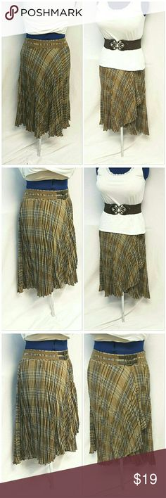 "BANDOLINO Hi-Lo Pleated Wrap Skirt size 8 BANDOLINO, Hi-Lo, Pleated, Wrap Skirt, size 8 See Measurements, 2 faux swede strips each with faux belt buckle front below waistband, side zipper, machine washable, 65% polyester,  35% rayon, approximate measurements: 15 1/2"" waist laying flat, 30 1/2"" length waist to hem. Skirt only in this listing. Top and belt not included in this listing. ADD TO A BUNDLE! 20% BUNDLE DISCOUNT Bandolino Skirts High Low"