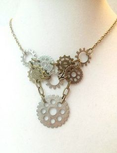 Steampunk Bronze & Gunmetal Connected Gear Necklace