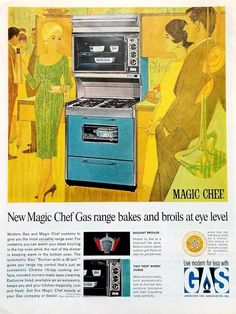 Vintage Advertisements, Vintage Ads, Vintage Prints, Vintage Stuff, Vintage Items, American Gas, Airplane Wall Art, Vintage Appliances, Kitchen Appliances