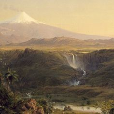 """Frederic Edwin Church (1826 – 1900): Cotopaxi (detail), 1855, Oil on canvas, 30 x 46 7/16 in., The Museum of Fine Arts, Houston, Texas  Frederic Edwin Church approached his subject matter as both an artist and a scientist. Inspired by the writings of the German naturalist and explorer Alexander von Humboldt, Church visited the mountainous terrain of South America twice, in 1853 and 1857. In this untamed """"New World""""—and particularly in what was then the highest active volcano in the world…"""