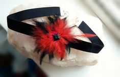 Black velvet flower choker necklace Velvet choker Feather
