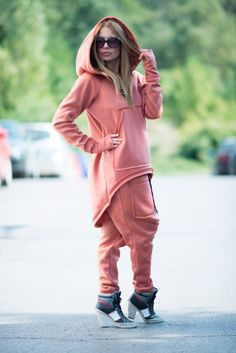 Brown Sexy Tracksuit / Hooded Sports set / Womens by EUGfashion