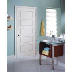 Riverside Smooth 5 Panel Equal Hollow Core Primed Composite Interior Door  Slab, Primed White