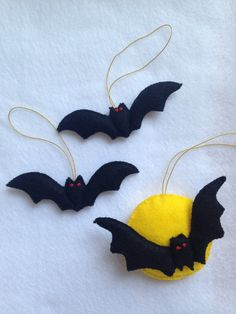 Set of 3 Handmade Felt Halloween Ornament READY TO di FELTsofties
