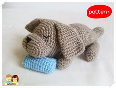 Sleepy Doggie amigurumi crochet pattern by Ahmaymet Crochet Gifts, Cute Crochet, Crochet For Kids, Crochet Dolls, Amigurumi Doll, Amigurumi Patterns, Crochet Patterns, Amigurumi For Beginners, Crochet Animals