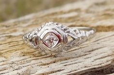 Vintage Antique .06ct Old European Cut Diamond Unique Engagement Ring Art Deco 1920's 18k White Gold Platinum Filigree by DiamondAddiction on Etsy