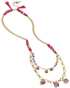 CARNIVAL LONG TASSLE NECKLACE MULTI accessories jewelry necklaces fashion