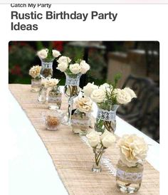 Rustic Birthday Table Decorations Rustic Birthday Party Ideas Photo Of Rustic Themed Wedding Table Decorations Wedding Centerpieces Mason Jars, Wedding Decorations, Rustic Centerpieces, Birthday Decorations, Vintage Party Decorations, Anniversary Party Decorations, Flower Decorations, Rustic Birthday Parties, Rustic Theme Party