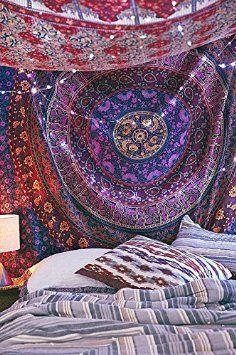 HANDICRAFTOFPINCITY Hippie style bohème Motif Mandala, tapisseries, dortoirs indien Décoration à suspendre au mur style tapisserie Plaid décoratif Motif psychédélique Taille double