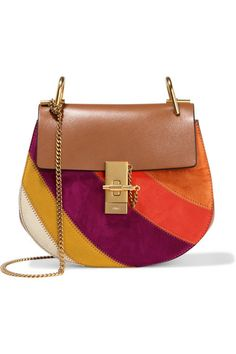 Light-brown leather (Calf), multicolored suede (Calf) Pin and clasp-fastening front flap Designer color: Caramel Comes with dust bag Weighs approximately 2lbs/ 0.9kg Made in Italy