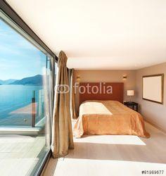 Interior, beautiful modern bedroom