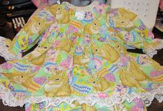 "Spring Bunnies Print Dress, Fits 22-24"" Lee Middleton Baby Dolls,  #Handmadeinmysmokefreehome August Sale 15%OFF"