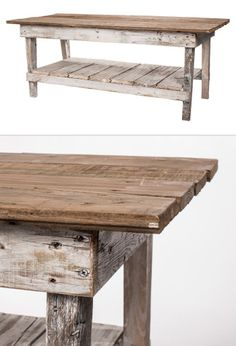 """Delaney Coffee Table - Cedar Hill Farmhouse on Joss & Main :: $206.95, Retail $539 :: [24""""h x 48""""W x 18""""D] Reclaimed barnwood in natural & distressed whitewash. Made in USA. :: Very cute farmhouse table. Love the weathered finish."""