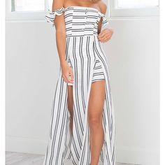 """Maxi Romper/playsuit in White Stripes - Showpo """"Thinking About You"""" Maxi Romper/playsuit in White Stripes - Showpo.com - this is sold out everywhere - worn once - size 4 US or 8 AUS (so a small)  Model is wearing size 8 AUS / 4 US / 8 UK - Model's height is 164cm / 5ft 4in Showpo Dresses Maxi"""