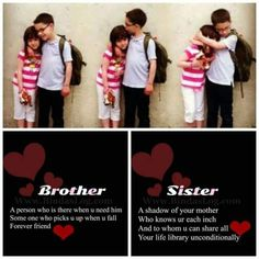 Tag-mention-share with your brother and sister 💜💙💚💛👍 Sister Quotes In Hindi, Bro And Sis Quotes, Brother Sister Love Quotes, Love My Parents Quotes, Brother And Sister Relationship, Brother Birthday Quotes, Little Boy Quotes, Sister Quotes Funny, Daughter Poems