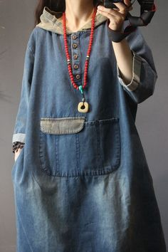 Buy Blue Fading Hooded Denim Dress Fashion Large Size Jeans Dress in Hooded Dresses online shop, Morimiss offers Hooded Dresses to make you feel comfortable Curvy Women Fashion, Fashion Tips For Women, Womens Fashion, Fashion Trends, High Heels Outfit, Diy Fashion Accessories, Hooded Dress, Casual Tops For Women, Jeans Dress