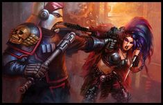 Arbites and Hive Ganger-Warhammer 40K:Dark Heresy by jubjubjedi.deviantart.com on @deviantART