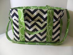 Extra  Large Diaper bag Made of Navy Chevron / Green by fromnancy, $96.00