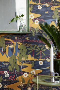 Boråstapeter, Wonderland by Hanna Werning, 1479 Funky Wallpaper, Wallpaper Calculator, Burke Decor, Designer Wallpaper, Retro, Wall Murals, Backdrops, Wonderland, Colours