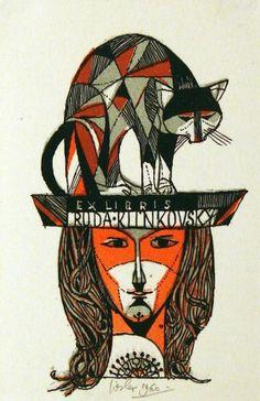 Ex libris by Josef Liesler (Czech, 1912-2005) for Ruda Klinkovský - 1960