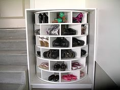 make a lazy susan for your shoes