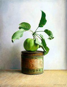 """Maçã sobre Lata"" - óleo sobre tela de John Whalley"