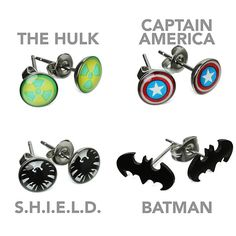 Superhero Earrings $9.99-14.99 The Hulk, S.H.I.E.L.D., Batman, Spiderman, Superman, The Punisher, Captain America