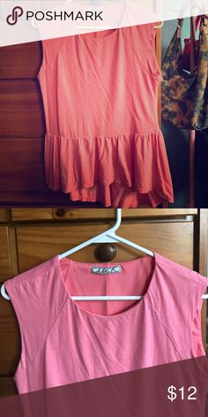 Lovely coral peplum top Beautiful coral top, worn only one or two times.  Excellent condition! Size M Chloe K Tops Blouses