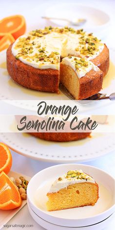 Easy recipe for fresh and zesty Orange Semolina Cake topped off with natural greek yoghurt and pistachios for crunch by Sugar Salt Magic Semolina Recipe, Semolina Cake, Baking Recipes, Cookie Recipes, Dessert Recipes, Chef Recipes, Recipies, Greek Sweets, Cupcake Cakes