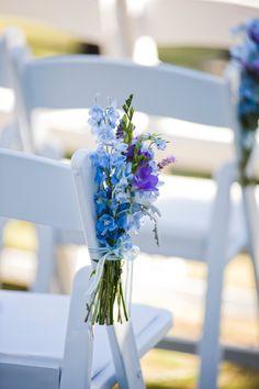 blue wedding flower bouquet, bridal bouquet, wedding flowers, add pic source on… Blue Wedding Flowers, Bridal Flowers, Flower Bouquet Wedding, Blue Flowers, Wedding Pews, Wedding Chairs, Our Wedding, Dream Wedding, Ceremony Decorations
