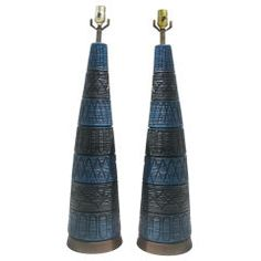 Pair of Vintage Blue and Black Pottery Lamps