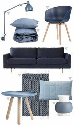 skandinavische möbel in blau