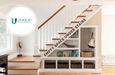 Empty space under stairs Space under the stairs is never used and it has been always left empty. It is a great way to save space in your home. Please contact us to reinvent and make it as a place for reading, built-in shelves, drawers and bookcases. Contact: Unique Property Developers 1201, PNR Layout, Sungam, Coimbatore-641018. Tel: 0422-4204561 Mobile: 90439 66000, 90436 22000 Email: info@uniquedeveloper.net