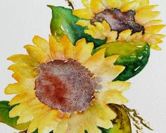 original sunflower watercolor painting bright by cozyhomebytj
