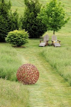 mowed path, sculpture