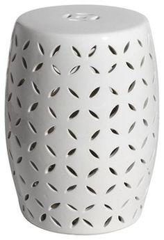 New White Ceramic Garden Stool
