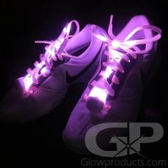 Light Up LED Shoelaces - Keep bright and be seen on your evening walks! - https://glowproducts.com/us/lightupjewelrywearables/light-up-led-shoelaces #GlowLights #NightWalk