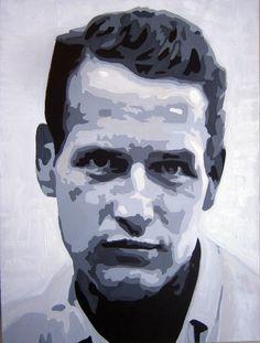 Paul Newman 2016. Retrato en acrílico sobre lienzo. A Romero para turetratopop.com . Retratos pintados a mano.