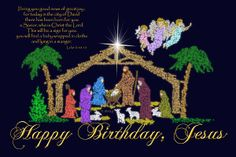 happy birthday jesus messages | Happy Birthday Jesus Nativity Greeting Card by Robyn Stacey