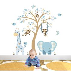 elephant-and-giraffe-nursery-wall-stickers-coffee-cream-blue.jpg (1000×1000)