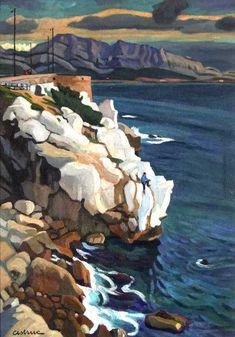 Marseilleveyre vu de la corniche-Huile sur isorel (75x100 cm)-Edmond Astruc
