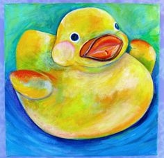 Original 6x6 rubber duck acrylic painting on canvas - Artworks by Karen Fincannon