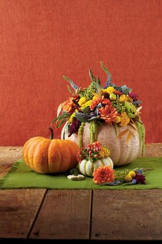 Such a pretty Fall Thanksgiving Floral Pumpkin Centerpiece Pumpkin Centerpieces, Thanksgiving Centerpieces, Floral Centerpieces, Centerpiece Ideas, Thanksgiving Table, Table Centerpieces, Table Decorations, Holiday Decorations, Autumn Decorating