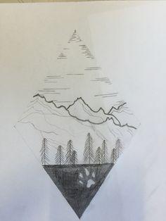 Tatuaggio a rombo con il bosco e significato di natura e libertà