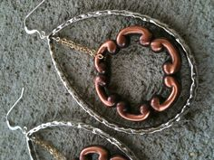 Sliver and Copper Earrings with Gold Chain www.erinpaigedesigns.com #jewelry #gift #designer