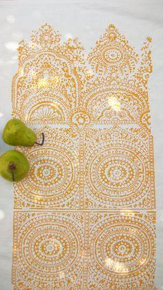 Tea towel Hand block printed Ornate Big Ben